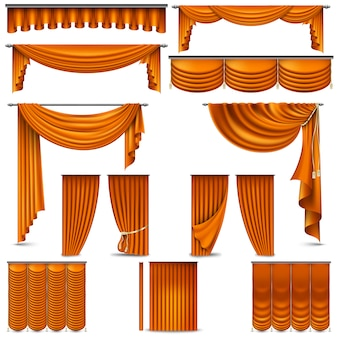 Oggetto di decorazione d'interni tende e tendaggi. su bianco per palcoscenico teatrale. e include anche