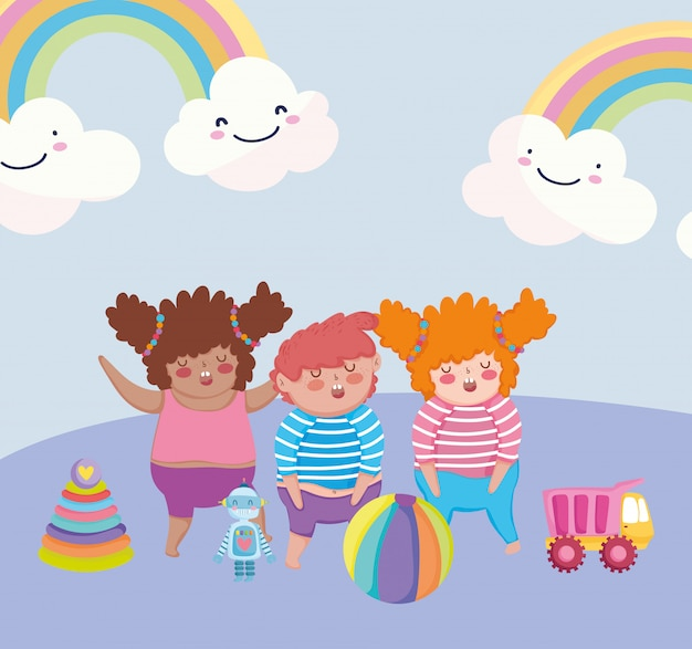 Oggetto di giocattoli per bambini piccoli per giocare a cartoni animati, bambini felici con camion piramide palla e illustrazione robot
