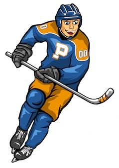 Oggetto di vettore delle azione del giocatore di hockey su ghiaccio