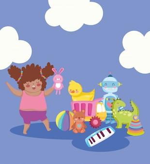 Oggetto giocattolo per bambini piccoli per giocare a cartoni animati, ragazza carina con coniglio in mano e illustrazione di molti giocattoli