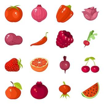 Oggetto isolato del simbolo dell'alimento e della verdura. collezione di set vegetale e maturo
