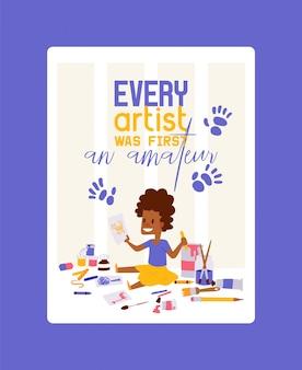 Ogni artista è stato il primo poster amatoriale. ragazza disegno, pittura, schizzi di animali. istruzione, concetto di divertimento. matite, acquerello, pastelli.