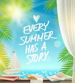 Ogni estate ha una storia: design delle vacanze estive con citazione disegnata a mano contro un paesaggio marino.