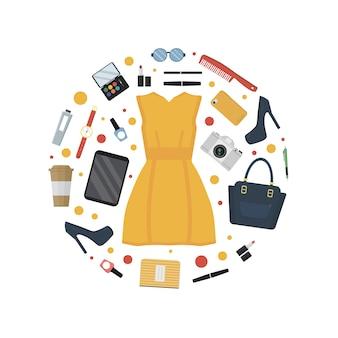 Ogni giorno trasporta, vestito e accessori per donna in stile piatto