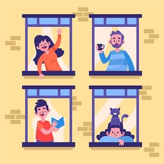 Ogni mattina le persone in piedi alle loro finestre