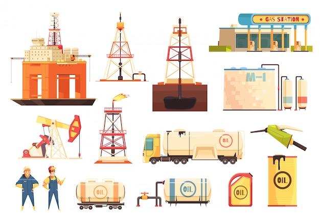 Oii set di icone di industria di produzione