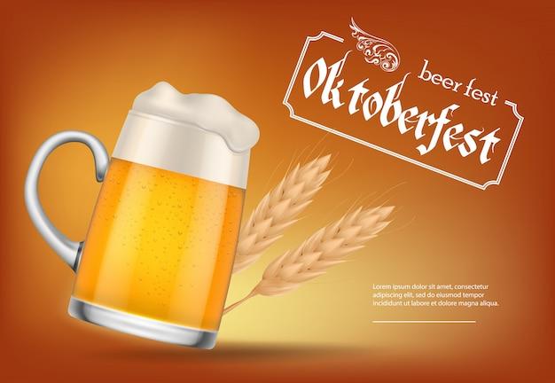 Oktoberfest, birra fest lettering con boccale di birra
