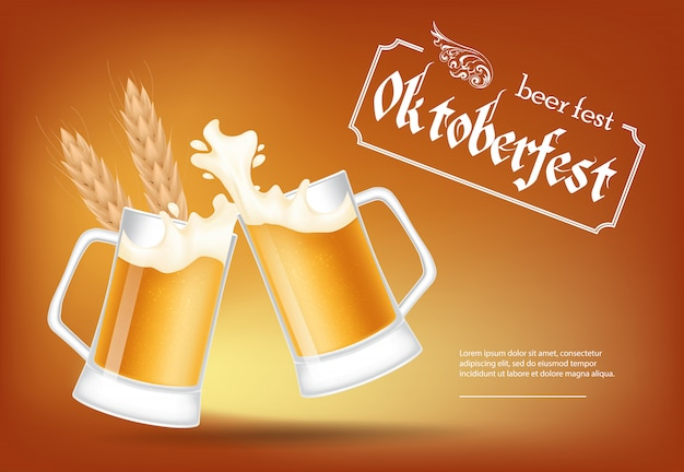 Oktoberfest, birra fest lettering con tazzoni di birra tintinnanti