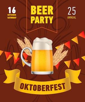 Oktoberfest, birra party lettering con boccale di birra e grano