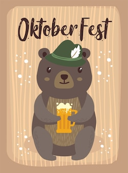 Oktoberfest cartoon cute animal bear october beer festival