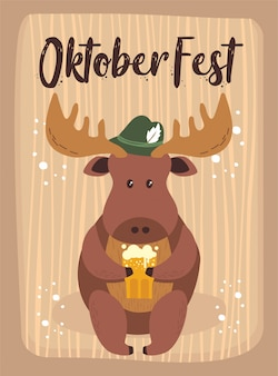Oktoberfest cartoon cute animal moose october beer festival
