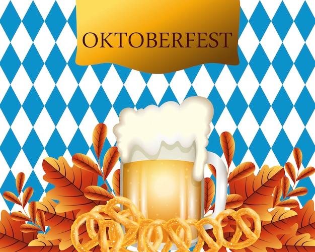 Oktoberfest con birra e illustrazione pretzel
