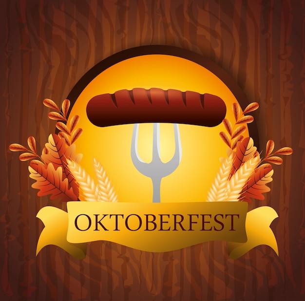 Oktoberfest con la salsiccia nell'illustrazione della forcella