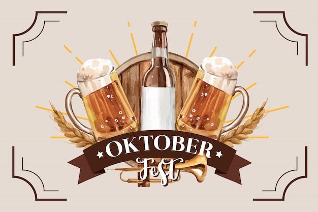 Oktoberfest design classico banner con secchio di birra e grano