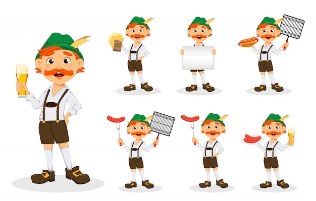 Oktoberfest, festival della birra. uomo divertente rossa