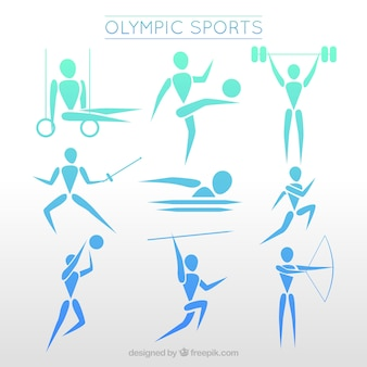Olimpici chatacters sportive in stile astratto