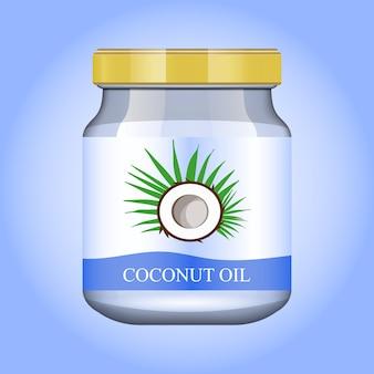 Olio di cocco in un barattolo di vetro realistico.