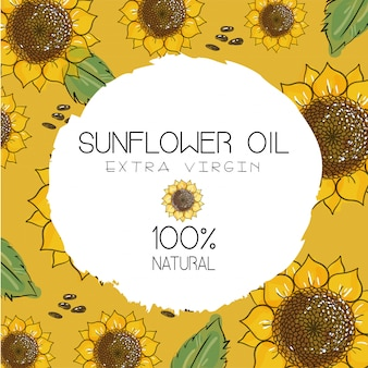 Olio di girasole, confezione di girasole, cosmetici naturali, prodotti sanitari. fiori disegnati a mano con semi su sfondo giallo ocra.