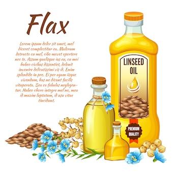 Olio di semi di lino, semi di lino e fiori.