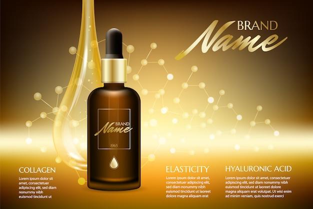 Olio naturale con modello di sfondo di vitamine