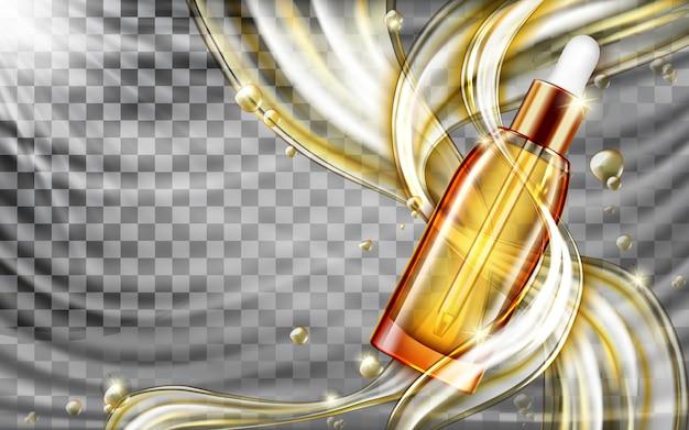 Olio o siero cosmetico per la cura della pelle con schizzi