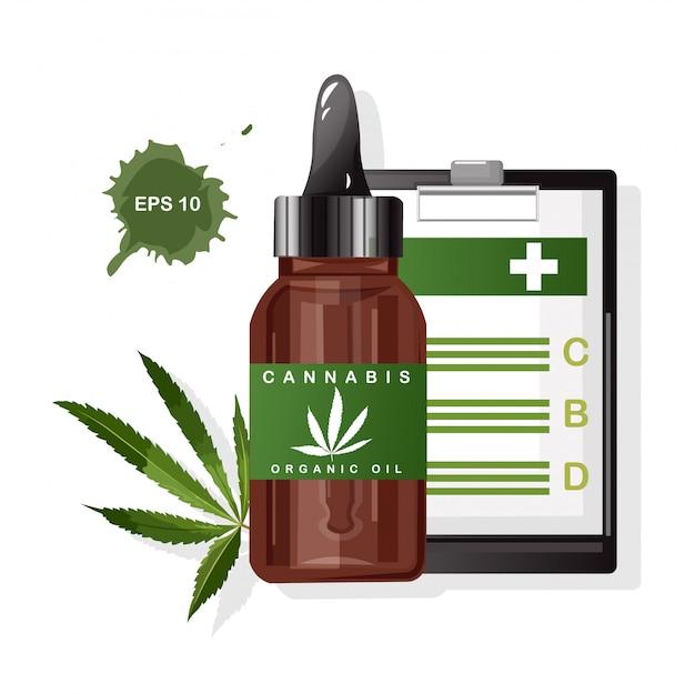 Olio organico di cannabis con foglie di marijuana. vantaggi del cbd negli appunti di carta