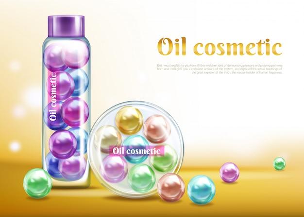 Olio prodotto cosmetico 3d realistico vettore pubblicità banner, modello di manifesto promozionale