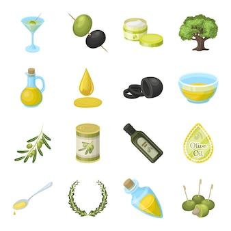 Oliva, elementi del fumetto dell'alimento nella raccolta stabilita per progettazione.