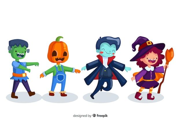 Ollection del personaggio di halloween sul design piatto