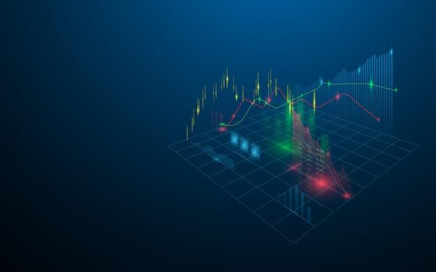 Ologramma virtuale del mercato azionario di statistiche, grafico e grafico su sfondo blu scuro