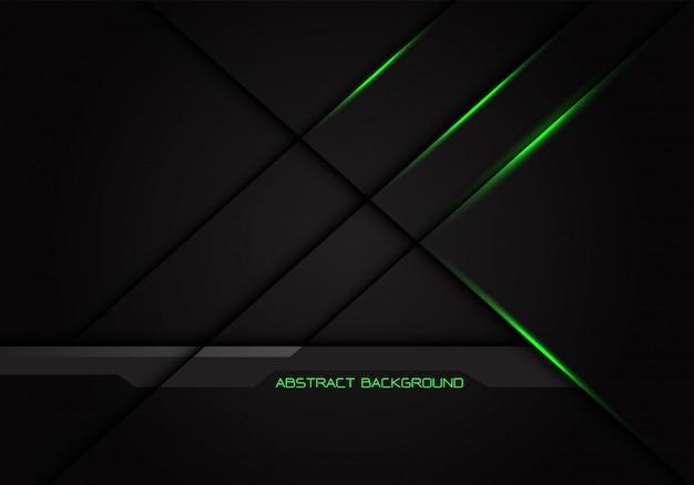 Ombra trasversale della linea della luce verde astratta su fondo grigio scuro.
