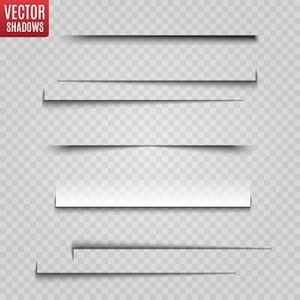 Ombre isolate. illustrazione realistica ombra trasparente.