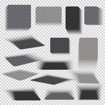 Ombre quadrate della casella di carta e degli oggetti trasparenti isolate. il vettore dell'ombra di goccia del muro e del pavimento si raccoglie
