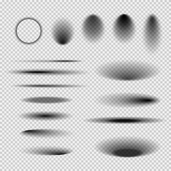 Ombre trasparenti rotonde e quadrate del pavimento isolato. ombra ovale scura e sfumature del cerchio con bordi morbidi