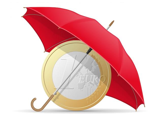Ombrello di monete euro protette e assicurate