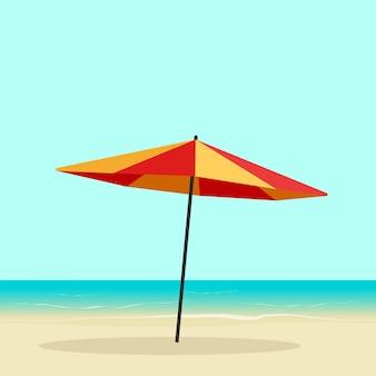 Ombrello di spiaggia sull'illustrazione di vettore della costa di spiaggia