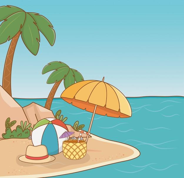 Ombrello sulla scena della spiaggia