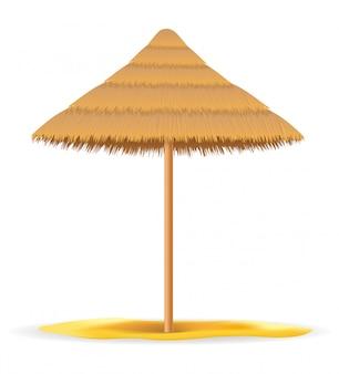 Ombrellone da spiaggia fatto di paglia e canna per ombra