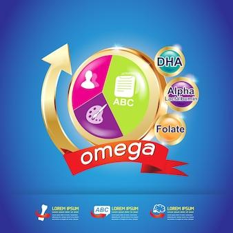 Omega 3 e vitamine logo concept vector per prodotti.