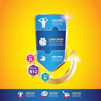 Omega vitamina e sostanze nutritive per il concetto di vettore di bambini