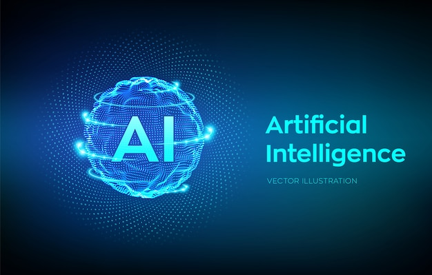 Onda a griglia della sfera con codice binario. logo ai intelligenza artificiale. concetto di apprendimento automatico.
