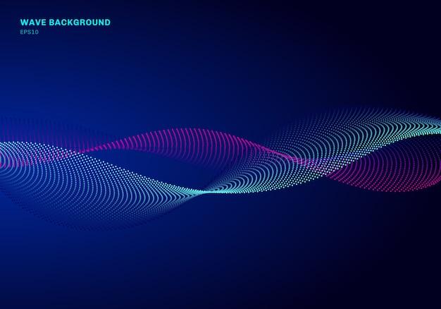 Onda blu e rosa della particella astratta di progettazione di rete del fondo
