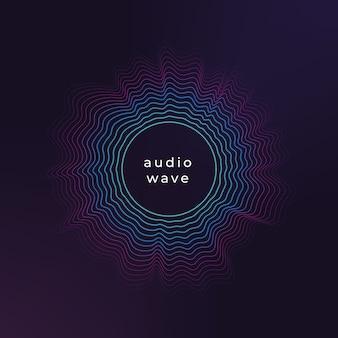 Onda del cerchio sonoro. ondulazione astratta di musica, fondo di flusso di onde di ampiezza audio