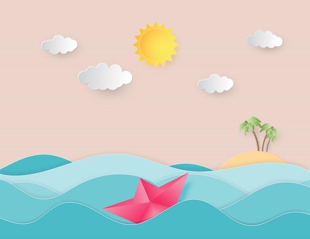 Onda di acqua dell'oceano con origami fatto barca a vela che galleggia sul mare e il sole stile taglio carta.