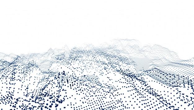 Onda di connessione di particelle su sfondo bianco
