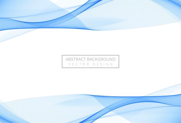 Onda scorrente alla moda blu astratta su fondo bianco