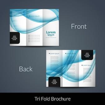Onde blu brochure pieghevole a tre