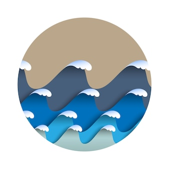 Onde di carta origami con schiuma di mare in stile giapponese