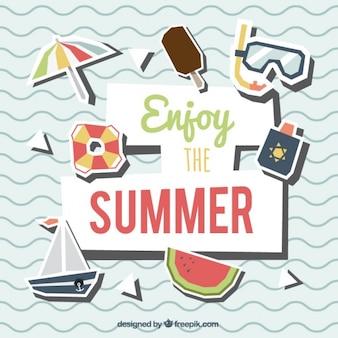 Onde sfondo con elementi d'estate