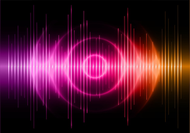 Onde sonore che oscillano sullo sfondo di luce arancione scuro viola